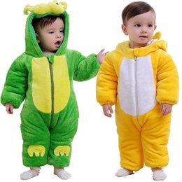 Wholesale leopard jumpsuit costume - Cartoon Baby Boy Winter Fleece Clothes Dragon Costumes For Baby Romper Newborn Overall Infant Hoodies Jacket Jumpsuit Chick Coat