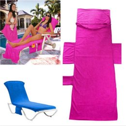 Wholesale Beach Sun Cover - chair Beach Towels Sun Lounge Chair Cover With Tote Bag Large Pocket Poolside Garden Leisure Garden Beach Towels Serviette BBA82