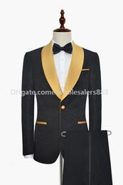 Wholesale groom tuxedos gold - New Style Groomsmen Black Pattern Groom Tuxedos Shawl Gold Lapel Men Suits Side Vent Wedding Prom Best Man ( Jacket+Pants+Tie ) K975