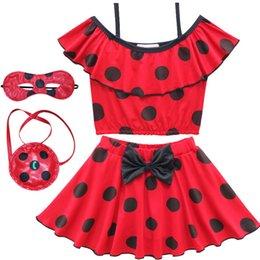 Wholesale Wholesale Bathing Suits For Kids - Miraculous Ladybug Children Swimsuit Girls Red Dot Print Bikini Baby Girl Swimwear Kids Swim Swimsuits for Children Swimming Bathing Suit