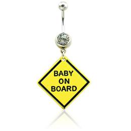 2019 bague de diamant en acier chirurgical Anneaux de bouton de ventre de mode en acier inoxydable Barbell Dangle jaune Signage avec la lettre des anneaux de nombril bijoux de piercing