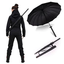Wholesale sword katana samurai - Japanese Umbrella Samurai Ninja Sword Katana SunnyRainny Long-handle Umbrellas Men Windproof Semi-automatic Gift