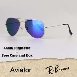 Wholesale Mens Black Aviators - Luxury High quality Mens Womens Sunglasses Brand Designer metal frame Glass Lens Aviator sun glasses uv400 Goggle With Case and box