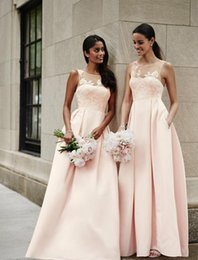Wholesale Lace Skirt Juniors - New Hot pink satin lace bridesmaid dresses 2018 A line skirt v neck formal party dresses for wedding guest Formal Evening Party Gowns mm36