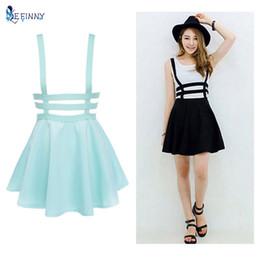 Wholesale Skater Skirts Wholesale - Wholesale- Retro Hollow Mini Skater Cute Women Suspender Skirts Straps High Waist Skirt