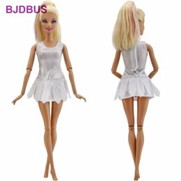 Wholesale Toys For Sexy Dolls - 1x High Quality Mini Dress Sexy Ballet Skirt Waistcoat Elastic Silvery Clothes For Barbie Doll Accessories Kids Halloween Gifts