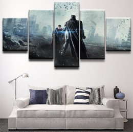 picture batman Canada - Modular Canvas Paintings Wall Art Print Pictures 5 Pieces Batman Superman The Dark Knight Movie Poster Home Decor Framework