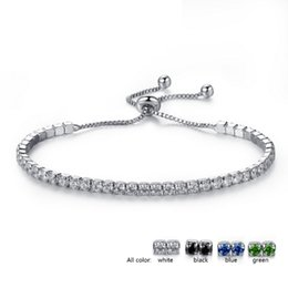 Wholesale Womens Black Jewelry - 18K White Gold Plated AAA+ Cubic Zircon Cluster Adjustable Box Chain Tennis Bracelets Fashion Womens Jewelry Bijoux for Party