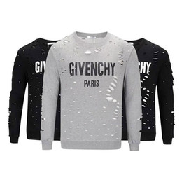 latest prints Coupons - 2018The latest design European Paris classic men's sweatshirt T-shirt printing long-sleeved shirt T-shirt 100% cotton hollow shirt giv T-shi