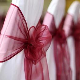 Decoração de noivado on-line-Bonito Organza Casamento Cadeira Sashes Arcos Cobrir Casamento Chiavari Cadeira Decor Branco Marfim Cadeira Sashes DIY Engagement Party Recepção Arcos