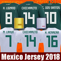Wholesale Football Mexico - TOP Thailand MEXICO Soccer Jersey 2018 world cup CHICHARITO LOZANO DOS SANTOS HERRERA Mexico football shirt camisetas de futbol patches