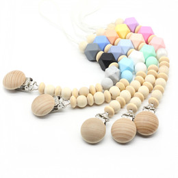 Wholesale Wood Pacifier Clip - 2018 New Handmade Wooden Folder Natural Wood Beads Silicone Nipple Chain Baby Products Pacifier Clips Feeding Dummy Newborn