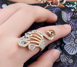 Wholesale Peacock Rings - Exquisite gold Peacock finger joint rings jewelry gift Fashion rhinestone Diamonds elegant Fingernails Band Cluster Ring Women Finger Nail