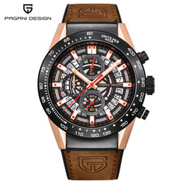 shaped gear Promo Codes - PAGANI DESIGN Luxury Men Wristwatches Waterproof 3ATM Sky Wheel Design Day Display Gear Shape Chronograph Business Gift