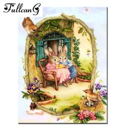 FULLCANG полный квадратный Алмаз вышивка кролик diy Алмаз живопись вышивки крестом животных мозаика 3D рукоделие home decor E822 от Поставщики список кистей