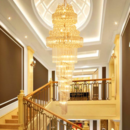 chandelier lobby k9 UK - LED Modern Crystal Chandeliers Lights Fixture American Golden Long K9 Crystal Chandelier Hotel Lobby Hall Stair Way Home Inoodr Lighting