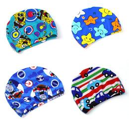 Wholesale Boys Swim Hat - Cartoon Cute Waterproof Fabric Long Hair 15 colors Ear Protection Children Kid Swim Pool Swimming Cap Hat for Boys Girls