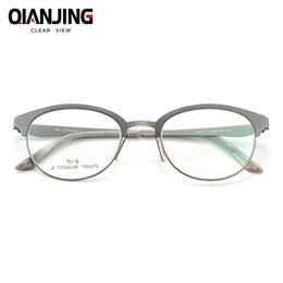 1080e320b86 QJ Titanium Glasses Frame Women Brand Designer Female Vintage Round Prescription  Eyeglasses Full Myopia Optical Frames Eyewear