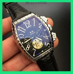 Wholesale Mm Machines - Men Stainless Steel Silver Case Black Surface Mechanical Automatic Calendar Machine GENEVE Tourbillon Watch Calibre 8880 Montre Homme