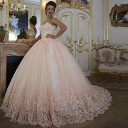 bb989992981 Vintage Wedding Dresses Bridal Gowns Turkey Lace Bling Sequins Lace Tulle  Sweetheart Corset Back Puffy Plus Size Ball Gown 2018 Blush Pink