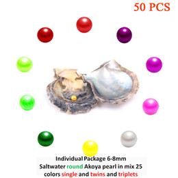 "Wholesale Oyster Black - ""50PCS Single or Twins or Triplets set"" Akoya Pearl Oyster with AAA Grade 6-8 mm Round Mix 20 Colors Freshwater Individual Packing"