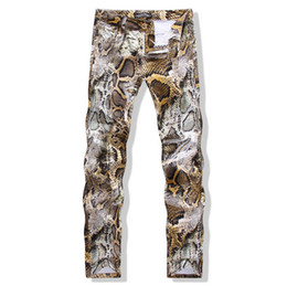 Wholesale colored drawing jeans - Men's slim colored drawing flower print jeans Male Snakeskin painted denim pants trousers Free shipping