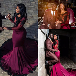 Wholesale Vintage Fiesta Red - 2018 African Burgundy Prom Dresses Sheer Long Sleeves With Black Appliques Lace Mermaid Formal Party Evening Gowns Vestidos De Fiesta