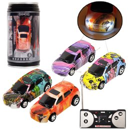 rc toy racing Coupons - Mini RC Racing Car 1:64 Coke Zip-top Pop-top Can 4CH Radio Remote Control Vehicle LED Light 4 Colors Toys for Kids EMS C4291