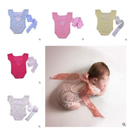 Wholesale Holiday Photography Props - Newborn Romper Jumpsuit Photography Prop Baby Girl Lace Bow Back Outfit Lace Romper Boutique Clothing Newborn Photography Props