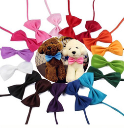 Wholesale pet fiber - colors Pet tie Dog tie collar flower accessories decoration Supplies Pure color bowknot necktie