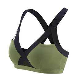 5cca89f9f2 Oyoo V neck Sexy Army Green High Impact Sports Bra Wide Shoulder Straps  Pink Workout Yoga Bra Top Contrast Gym Tank Tops