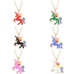 c7e1bf5e9a41 2019 unicornios colgantes Joyería para niños Moda Color Glaze Drop Oil  Rainbow Unicornio Collares pendientes Sencillo