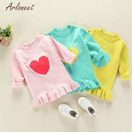 Wholesale Heart Drop Clothing - TELOTUNY Sweaters Fashion 2017 Toddler Kids Girls Heart Print Ruffles Tops Knitted Warm Clothes Outfits Hot drop shipped OB18