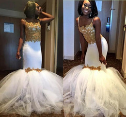 Wholesale Corset Tulle Skirt Prom Dresses - Sexy African Mermaid Plus size Prom Dresses 2018 White and Gold Evening dresses Puffy Skirt Spaghetti Straps Lace Corset Formal Party Gowns