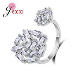Wholesale personalized sterling silver rings - JEXXI Women Personalized Resizable Ring for Wedding Engagement 925 Sterling Silver Jewelry Paved Full Shiny Rhinestone Ladies