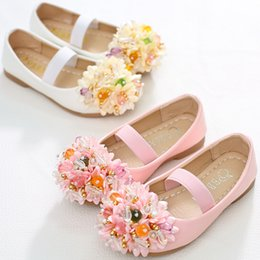 Wholesale Little Girls Heels - New Little Big Girls Princess Shoes Cinderella Crystal Shoes Performance Shoes Big Flower pearl flower Low Heel for Latin Dance Party A8731