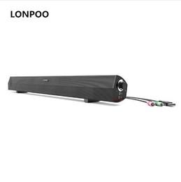 Wholesale Pc Sound Bar - LONPOO Speakers 10W MP3 USB Speaker Headphone Soundbar TV Stereo Soundbar Speakers For Computer iPhone PC Laptop TV Sound Bar