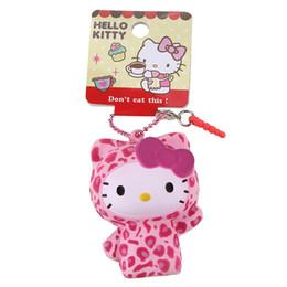 Licenza giocattolo online-1pc Simpatico leopardo Hello Kitty Squishy Doll kawaii Squishys Vendita al dettaglio Cellulare Fascino Stess rilascio Giocattoli Squishies con licenza Tag