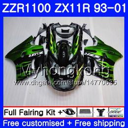 2019 1998 zx11 fairing Corpo Para KAWASAKI NINJA ZX 11R ZX11R 93 98 99 00 01 206HM.44 ZZR 1100 ZX11 R ZZR1100 ZX-11R 1993 1998 1999 2000 2001 Chamas verdes desconto 1998 zx11 fairing