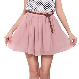 Mini tutu rosa mujer online-2018 falda de tul de gasa de verano falda plisada de las mujeres sexy corto mini tutú de cintura alta mujeres blanco rojo rosa