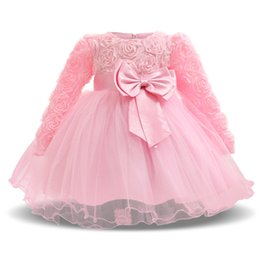 Wholesale Tutu Outfits For Baby Girls - Sweet Pink Newborn Baby Girl Flower Wedding Dress Fancy 1st 2nd Birthday Outfits Infant Party Dresses For Girl Kids Tutu Clothes