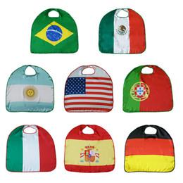 Kid usa flagge online-70 * 70cm 2018 WM Nationalflagge Mantel Kostüm Cape USA Italien Deutschland Flagge Mantel Kleidung für Kinder Polyester Mantel