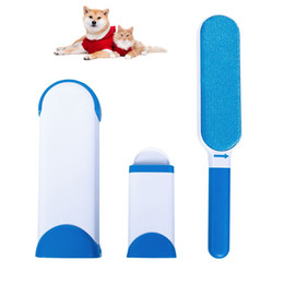 Wholesale Plastic Remover - Pet fur remover with self-cleaning base double sides pet brush dog cat fur remover from clothes sofa fabric home cleaner brush reuseable