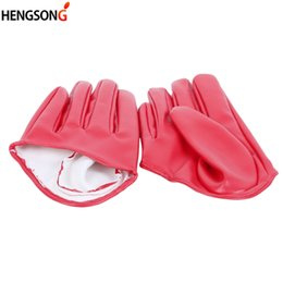 white leather gloves half Promo Codes - women's Fashion Glovers Half Palm Full Finger PU Leather Gloves Female Ds hip-hop Candy Color Performance Gloves