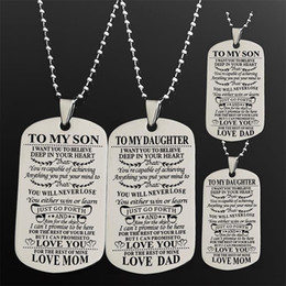 To My Son Daughter I Want You Believe Love Dad Mom Letter Tag Military Necklace Ball Chain Gift For Best Birthday Graduation Discount Gifts
