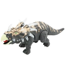 Wholesale Toys Dinosaurs Dragon - New Children education toy 6632 36cm simulation Electric toy walking Triceratops dinosaur dragon with lighting sound kids