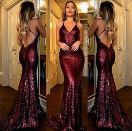 Wholesale Lilac Purple Bridesmaids Dresses - Sexy Burgundy Prom Dresses with V Neck Criss-Cross Backless Bling Mermaid Prom Dress 2017 Gold Sequins Evening Dress Cheap Bridesmaid Gowns