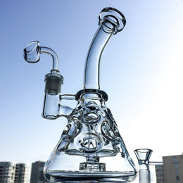 Wholesale Mini Bend - Fab Egg Recycler Glass Beaker Bong Showhead Percolator Bongs 9 Inch Mini Oil Rigs Water Pipes Small Dab Rig Clear Bubbler Smooth Pipe