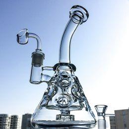 vasos de agua modernos Rebajas Huevo fabuloso vaso de vidrio Bongs Showerhead Perc Bong 9 pulgadas Mini reciclador Dab Rig Pipas de agua Pequeñas plataformas de aceite Bubbler transparente Pipa lisa MFE09