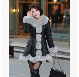 Wholesale Fox Fur Strips - New fashion women's winter warm luxury faux fox fur collar long sleeve medium long ruffles slim waist PU leather parka coat casacos 4XL